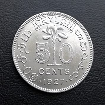 Plata Corona británica Colonia 50 Céntimos de Ceilán 1927 ...