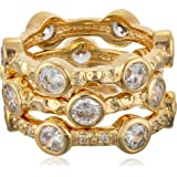 """Freida Rothman """"Classics"""" Collection Gold-Plated Set of Three Starry Night Rings"""
