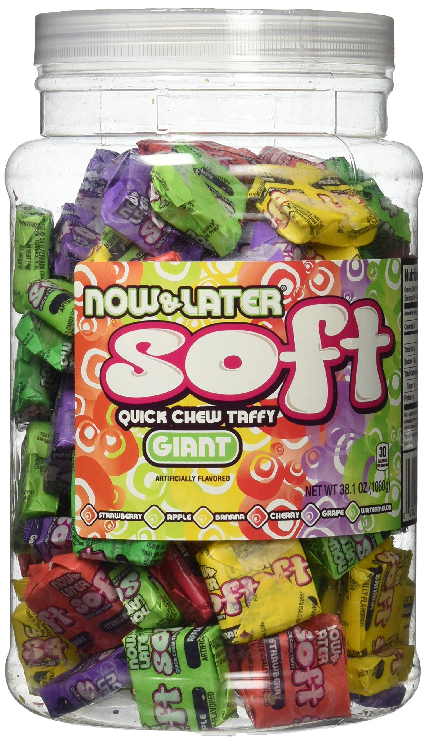 Now and Later Giant Soft Chewy Taffy Candy (31.8 Ounces) by Now and Later