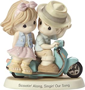 Precious Moments Scootin Along Singin Our Song Couple Riding on Scooter Bisque Porcelain Home Decor Collectible Figurine 173012