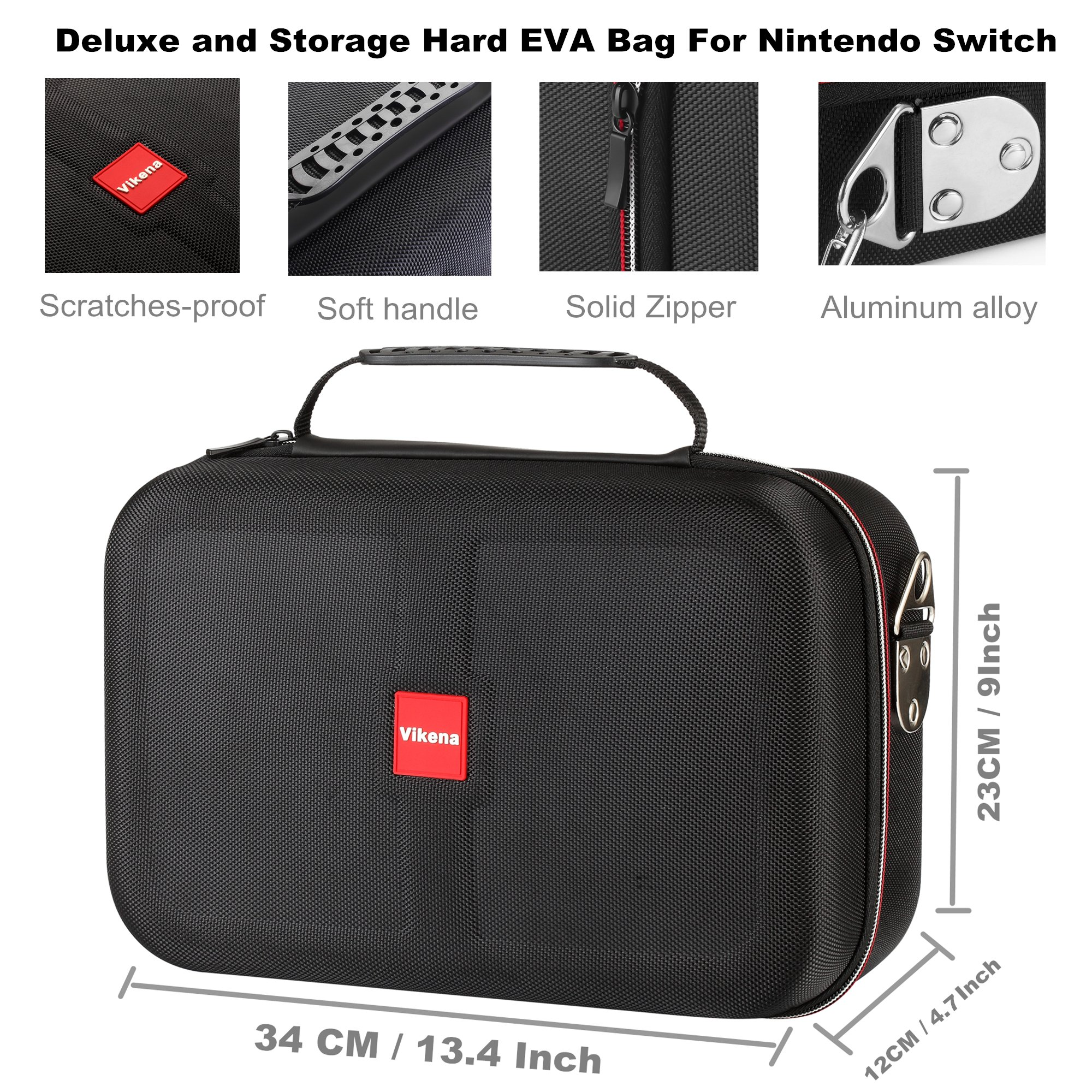 Vikena Deluxe Travel and Storage Case for Nintendo Switch,Game Carrying Case fit for Switch Pro Controller,Switch Console and Accessories,Black by Vikena (Image #3)