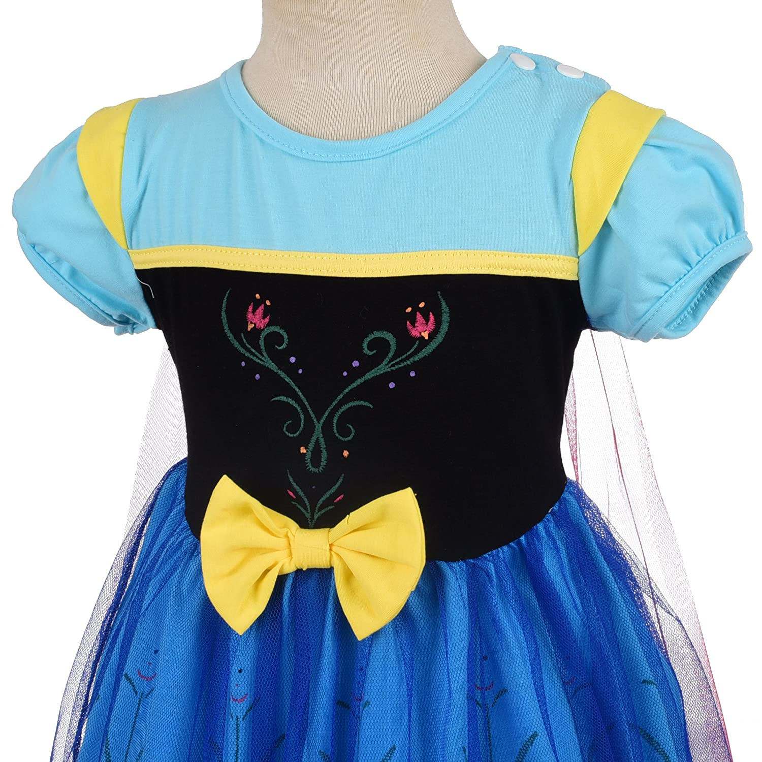Lito Angels Little Girls Princess Anna Dress with Cape Fancy Halloween Costumes Party Dress Size 2-3 Years