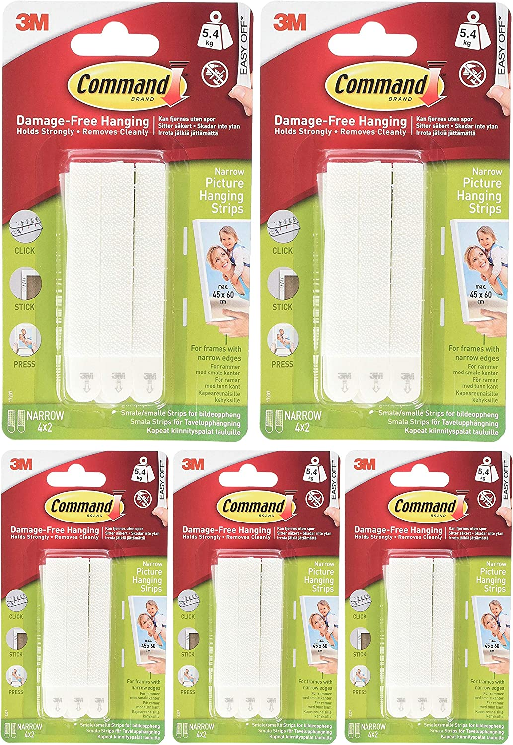 - 5 Pack Narrow Command Picture Hanging Strips 17207-ES