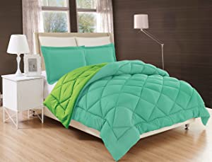 Elegant Comfort All Season Comforter and Year Round Medium Weight Super Soft Down Alternative Reversible 2-Piece Comforter Set, Twin/Twin XL, Aqua/Lime