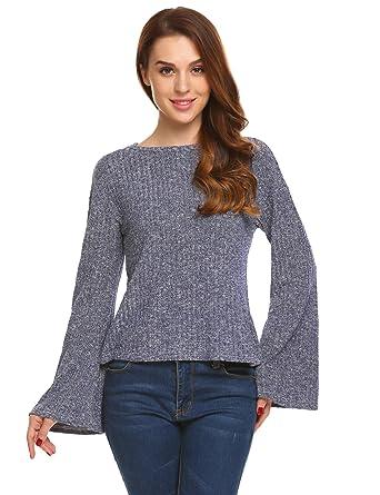 e114b5856c Zeagoo Women s Raglan Long Sleeve O Neck Pullover Casual Tunic Sweatshirts  Navy Blue S