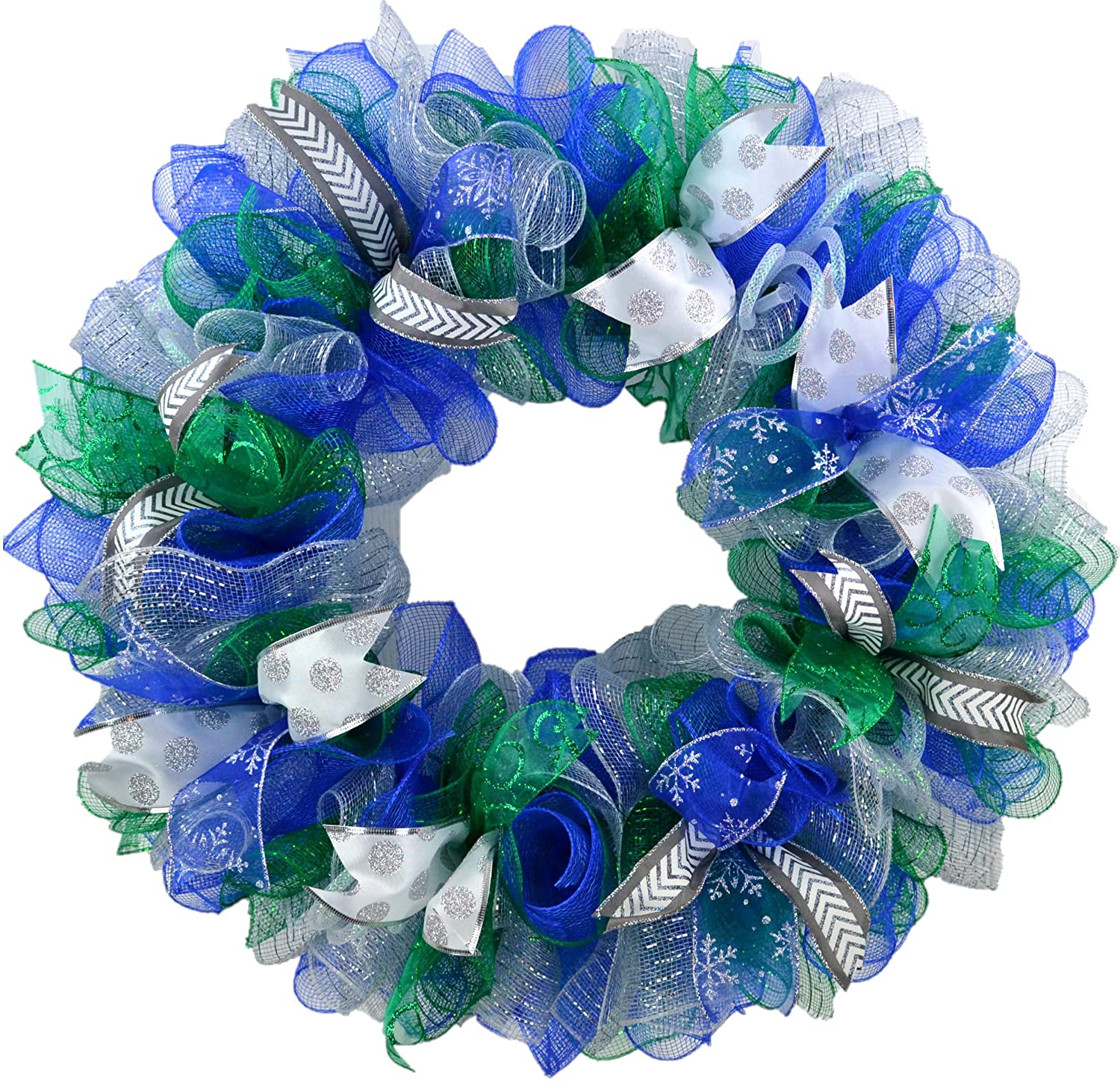 Winter Wreath | Hanukkah Decorations | Front Door Decor for After Christmas Blue Green White Silver