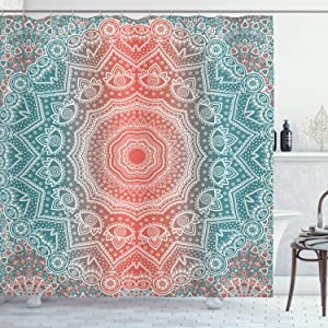 Ambesonne Coral and Teal Shower Curtain, Modern Tribal Mandala Tibetan Healing Motif with Floral Geometric Ombre Art, Cloth Fabric Bathroom Decor Set with Hooks, 70