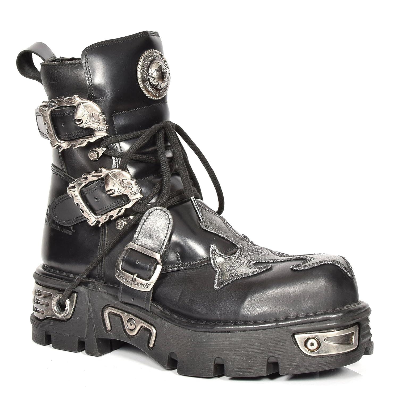 New Rock Leder Knöchel Stiefel Schnürsenkel Hi Top Schuhe Rockstar Stil Silber Kreuz Entwurf