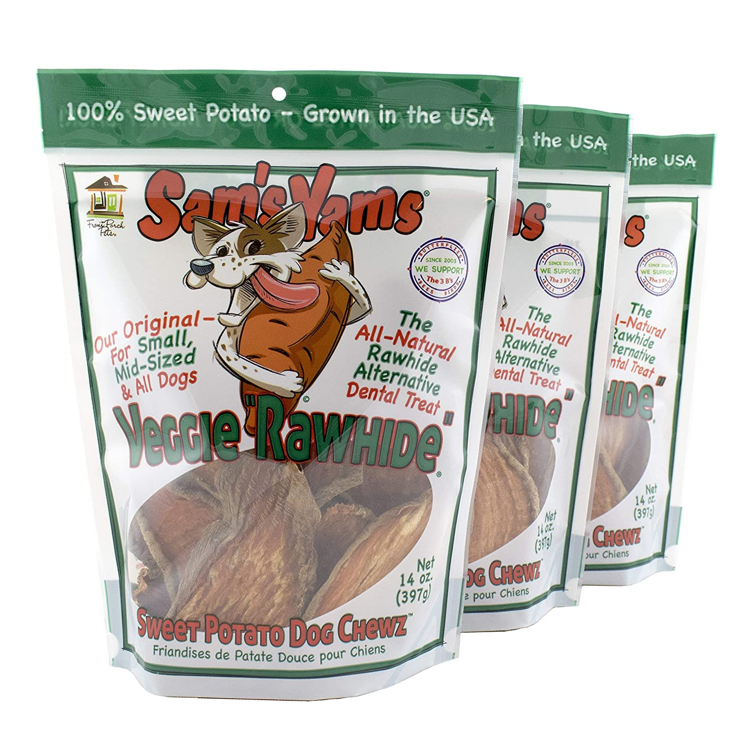 Sam s Yams Sweet Potato Dog Chewz 14oz Bags-Veggie Rawhide,3-Pack