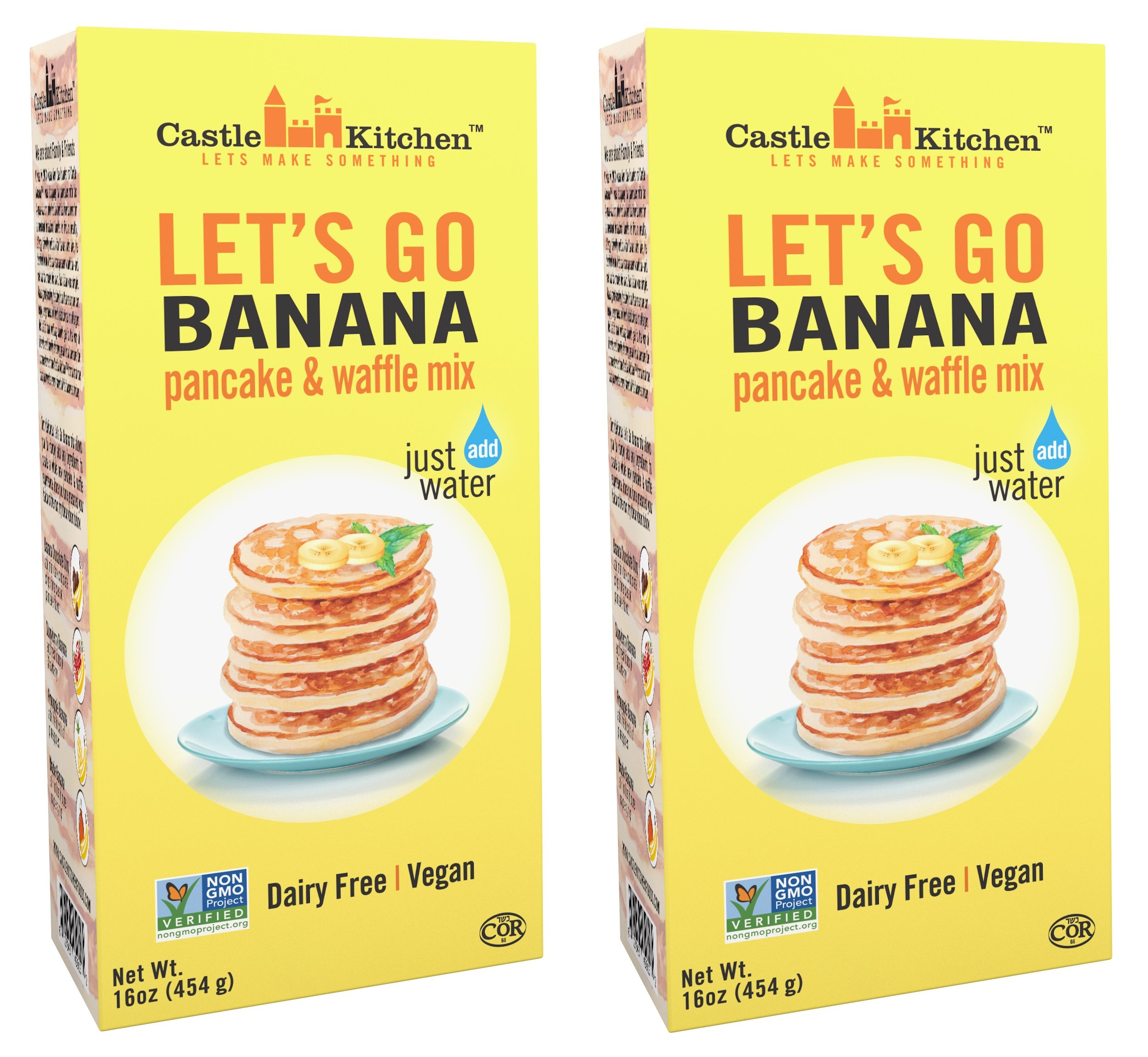 Banana Pancake Mix - Let's Go Banana Dairy-Free, Vegan Complete Pancake & Waffle Mix - Just Add Water - 16 oz (Pack of 2) by Castle Kitchen