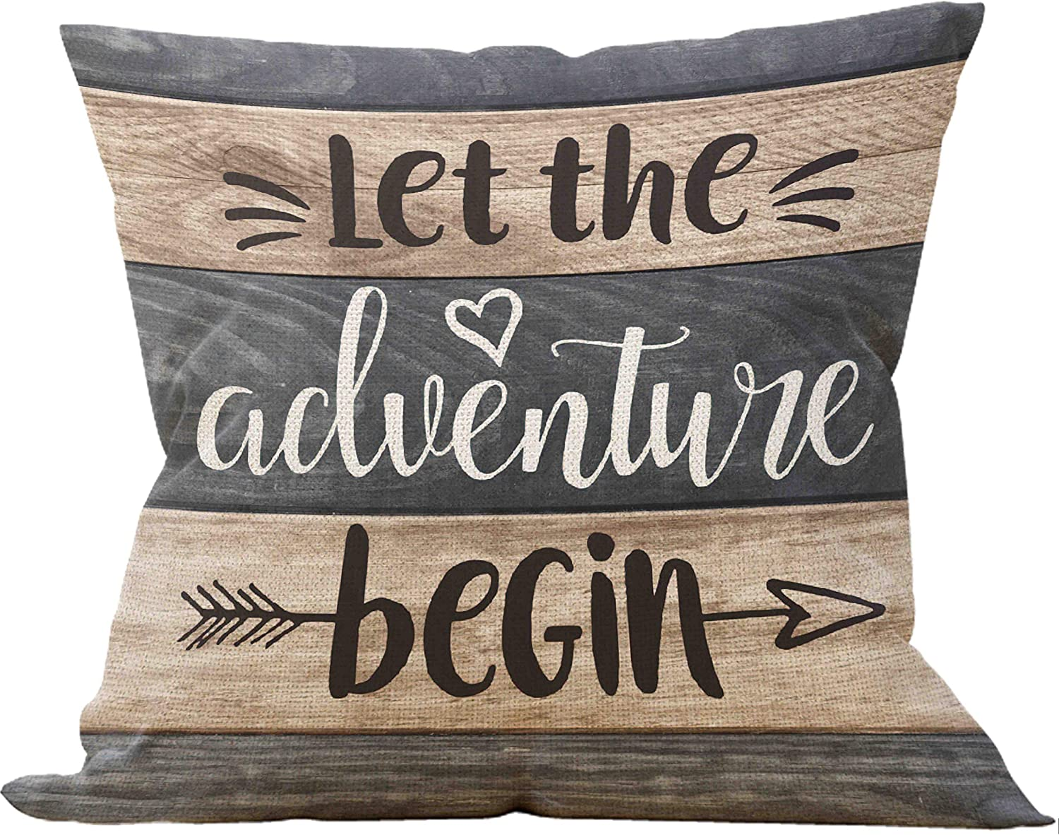 Let The Adventure Begin Pillow Case, Camper Lover Gifts, Gift For Camper, RV pillow Case, Camper Decor, 18 x 18 Inch Trailer Pillow Decorative Cotton Linen Cushion Cover for Sofa Couch Bed RV
