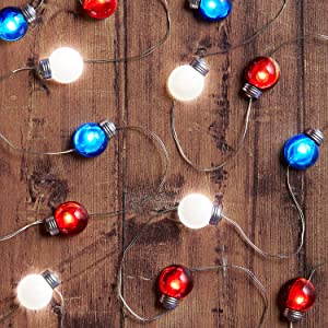 Lights4fun, Inc. 20 Red, White & Blue Battery Operated Micro LED Indoor Silver Wire Globe String Lights