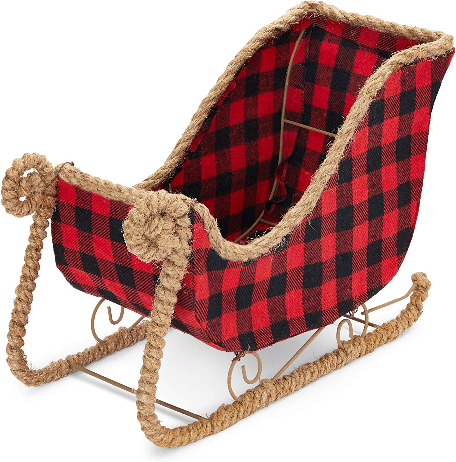 Okuna Outpost Small Santa Claus Sleigh for Christmas, Red Buffalo Plaid (11 x 5 x 7.8 in)