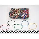 Progom - 200 Elastiques caoutchouc - 80(Ø50)mm x 1.7mm - Multicolore (blond,rouge,vert,bleu,blanc,noir)