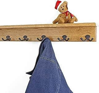 "product image for Oak Shelf Coat Rack with Aged Bronze Double Style Hooks (Golden Oak, 26"" with 5 hooks)"