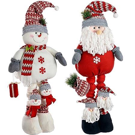 werchristmas extendable free standing santa and snowman 99 cm multi colour set - Santa And Snowman
