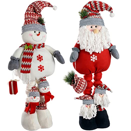 WeRChristmas Extendable Free Standing Santa and Snowman, 99 cm ...