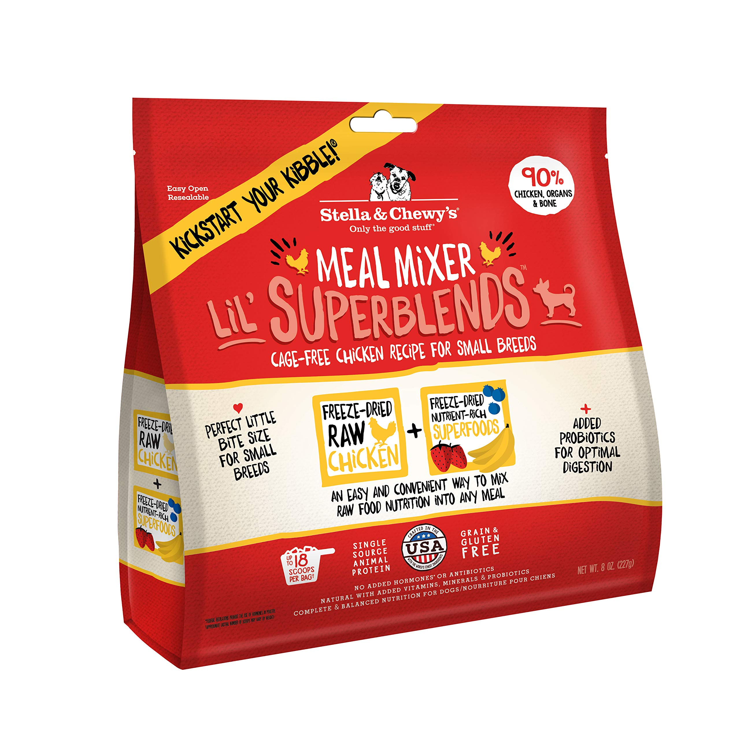 Stella & Chewy's Freeze-Dried Raw Cage-Free Chicken Meal Mixer Lil' SuperBlends Grain-Free Dog Food Topper, 8 oz. bag by Stella & Chewy's