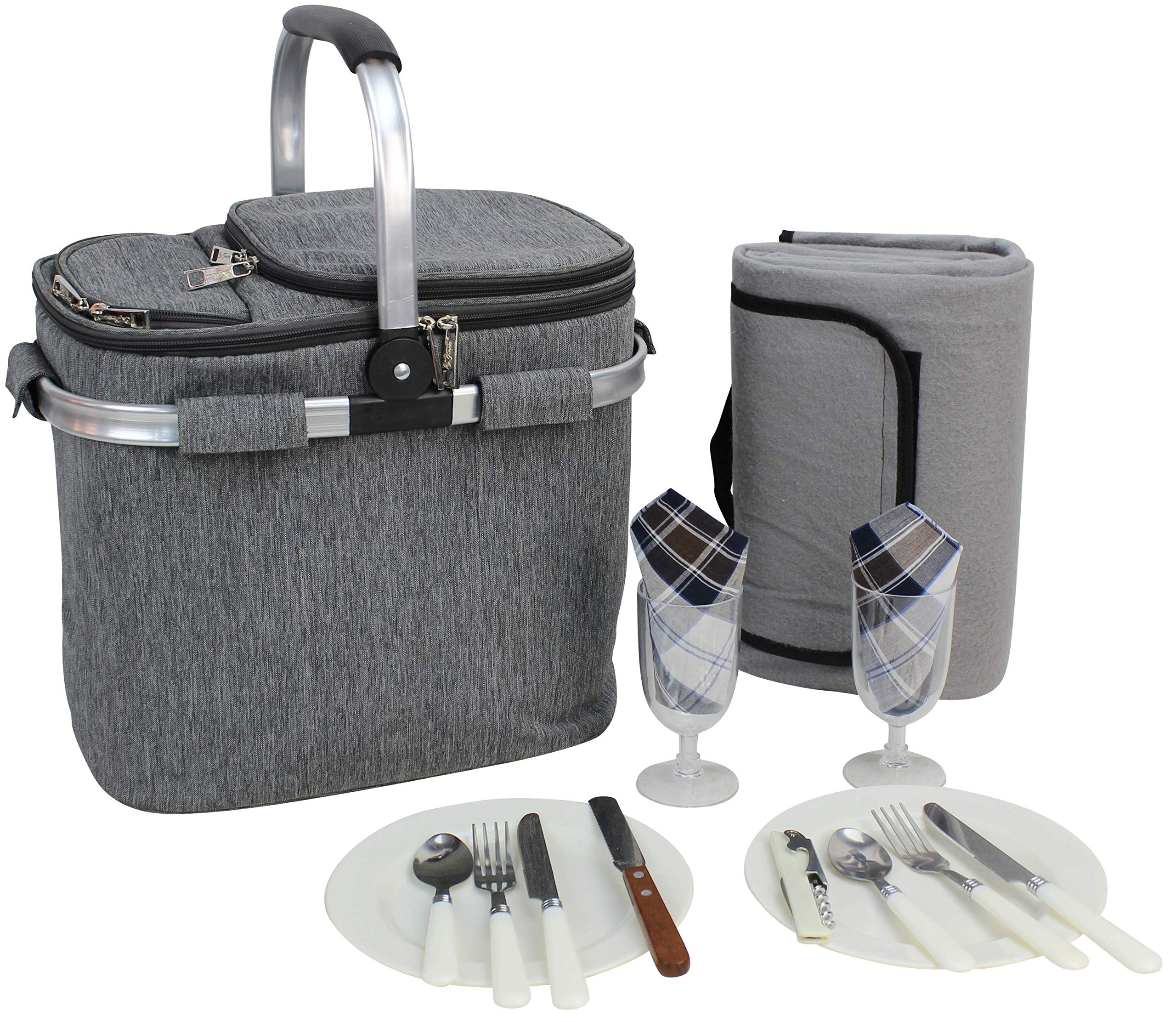 Picnic Basket for 2 Beautiful Insulated Tote Bag Kit Insulated Lunch Tote for Women & Men Picnic Backpack Camping Tableware Set and Waterproof Blanket | Aluminum Frame and Handle | Collapsible Cooler