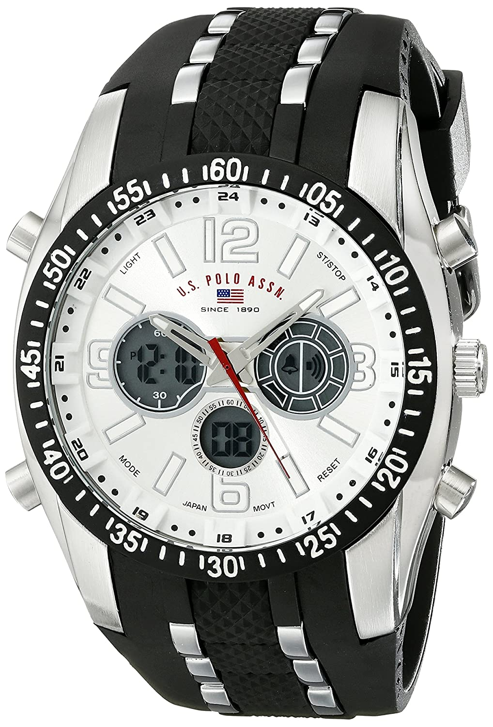 U.S. Polo Assn. Sport Men s US9061 Watch with Black Rubber Strap Watch dce6152487b