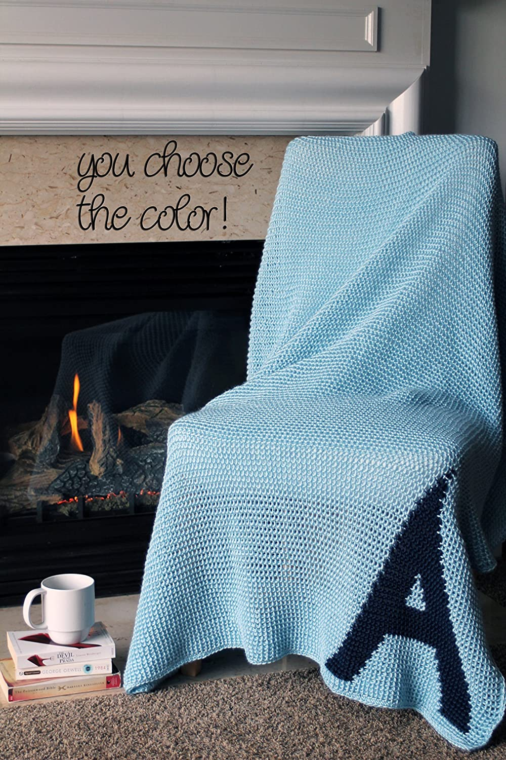 Image of Afghan Throw Blanket Crochet - Solid Light Blue Afghan with Dark Blue Initial Monogram - Ready To Ship Home and Kitchen