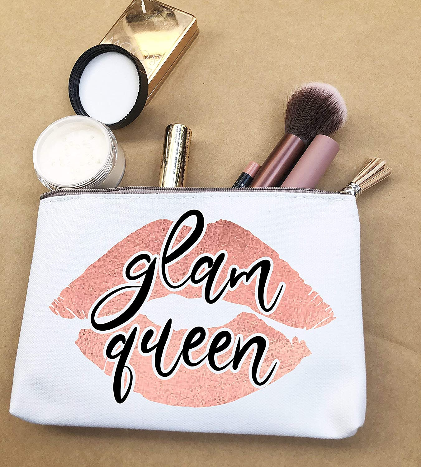 Glam Queen Makeup Bag Canvas Pouches For Lipstick Funny Gift