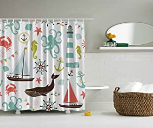 Ambesonne Fabric Shower Curtain, Whale Shark Seahorse Sea Creatures Rope and Anchor Octopus Coral Crab Marine Lighthouse Ocean Theme Home Decor Bathroom Nautical Coastal, Coral Turquoise Brown