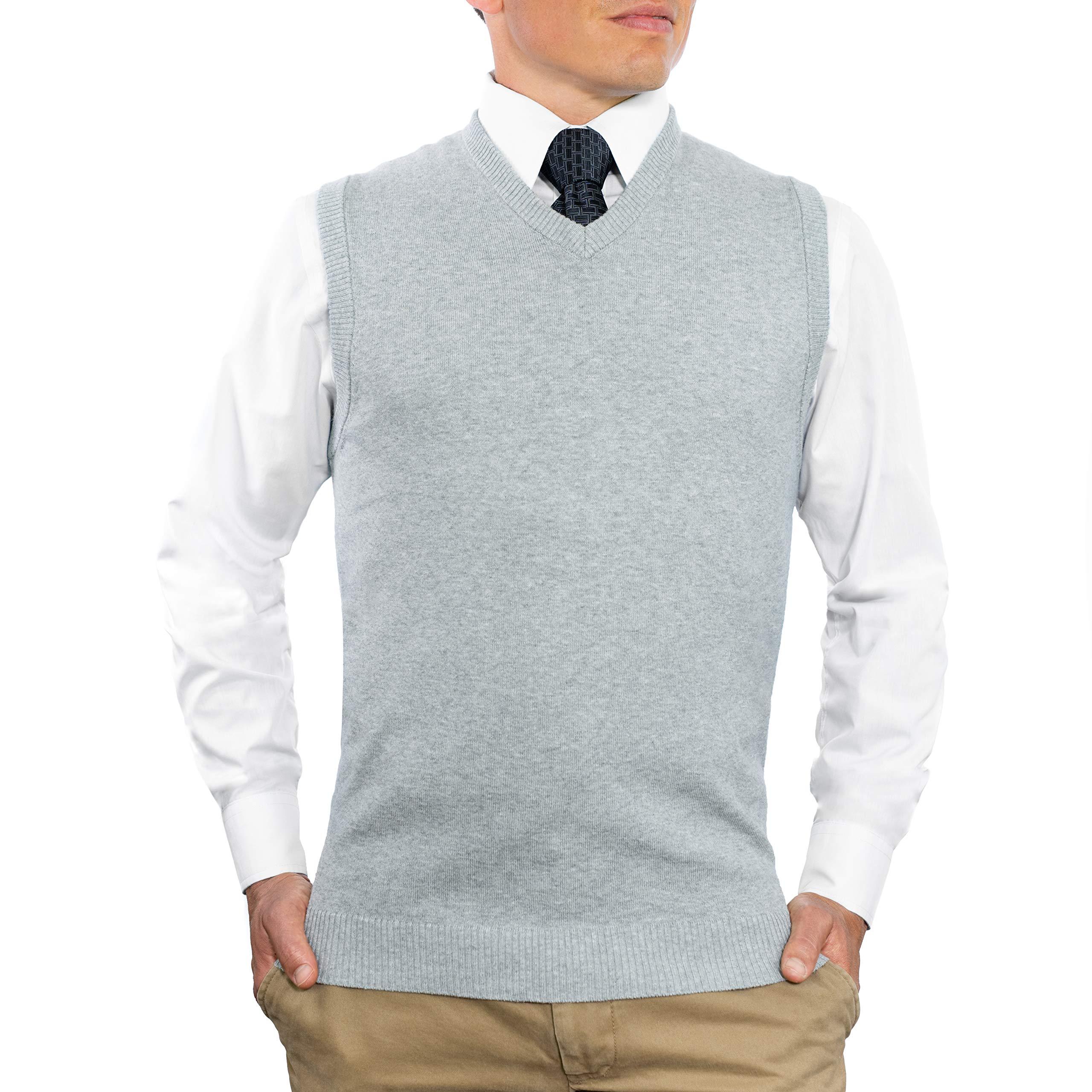 CC Cotton Blend Slim Fit V Neck Sweater Vest for Men | Lightweight Breathable Vests for Men | Wash Friendly V Neck Mens Vests, Large, Heather Gray by Comfortably Collared