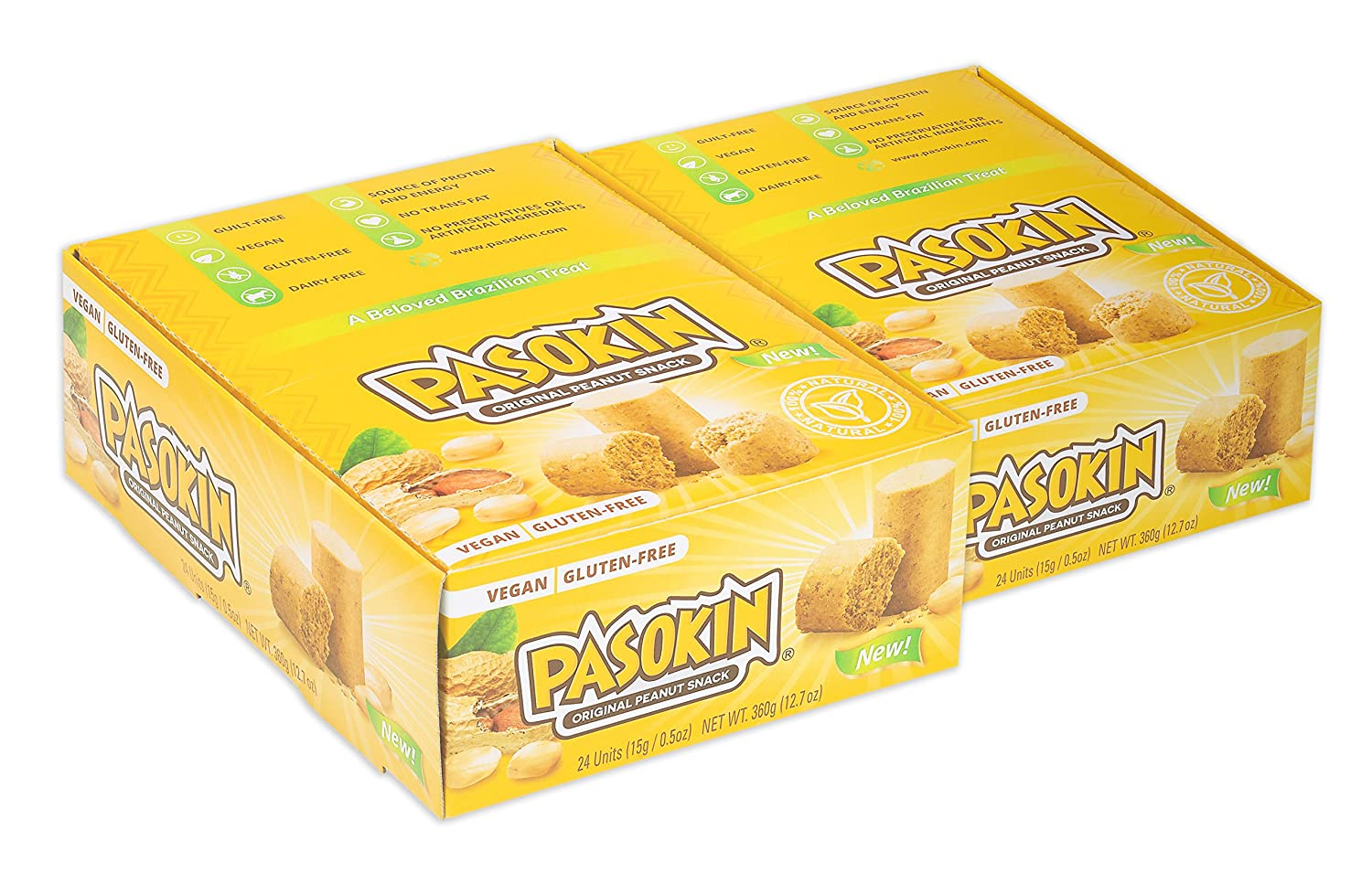 PASOKIN | Original Peanut Butter Snack | Gluten Free, Vegan, All Natural, Made in USA, 0.5 oz bites [24 count, 2 boxes]