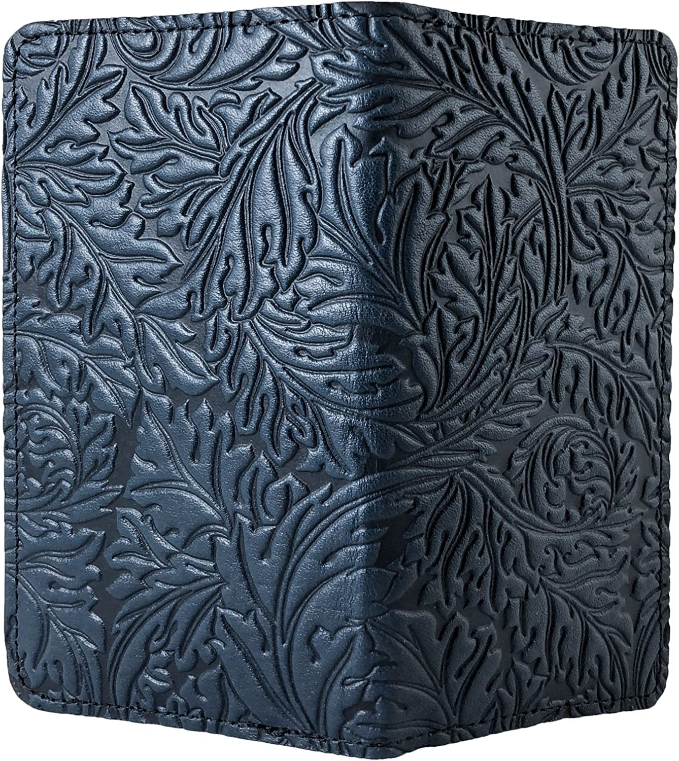 Oberon Design Acanthus Leaf Embossed Genuine Leather Checkbook Cover, 3.5x6.5 Inches, Navy Blue, Made in the USA
