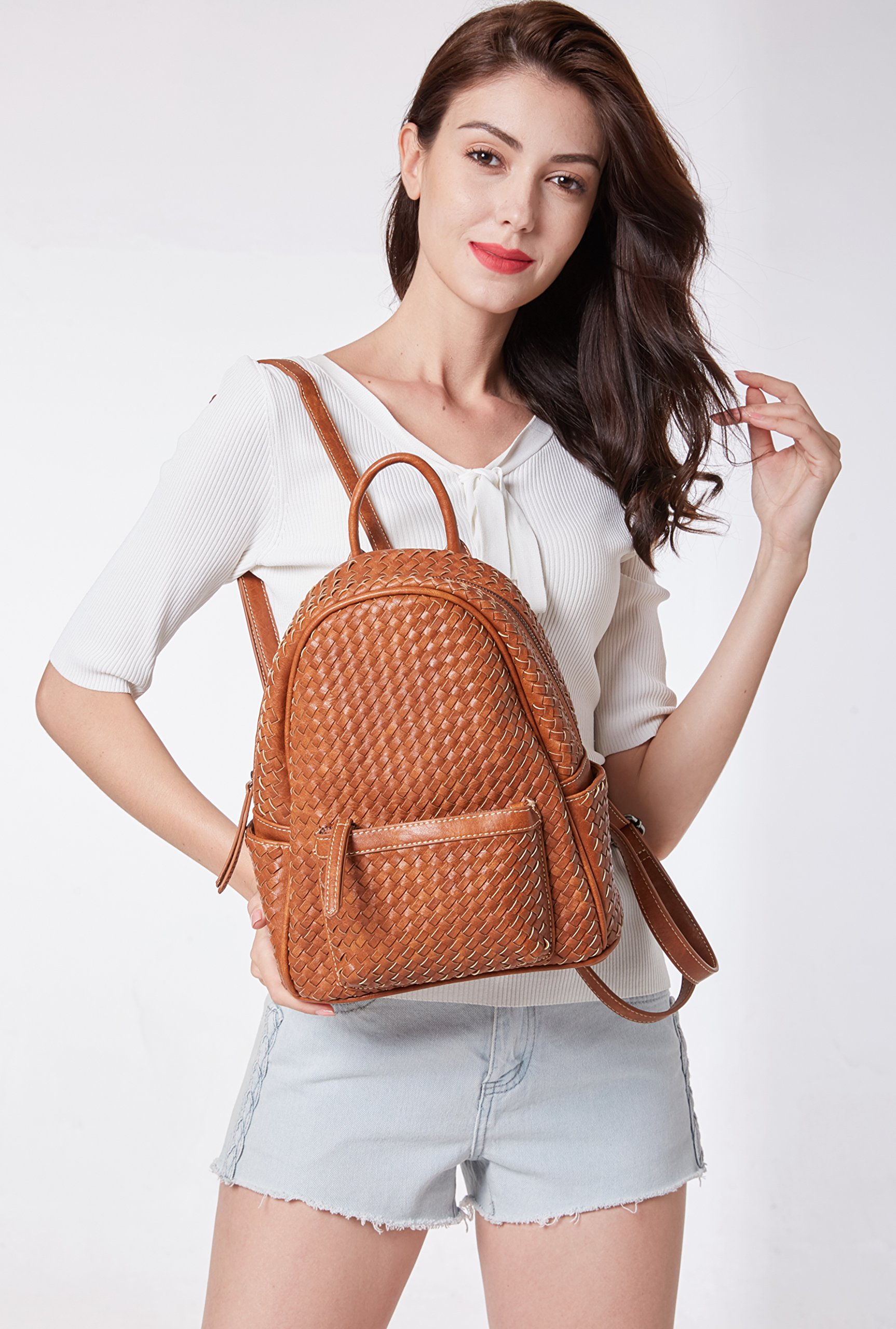 Small Women Backpack Purse for Women ladies Fashion Stylish Casual Shoulder Bags … (Tan) by Shomico (Image #6)