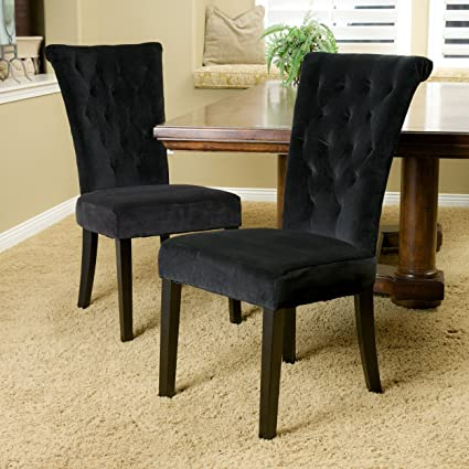 Amazon Com Great Deal Furniture Paulina Black Velvet Dining Chairs