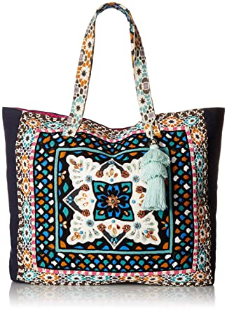 07d918221 Amazon.com: Steve Madden Colleen Large Tribal Geometric Bohemian Fabric Tote  Shoulder Handbag, Beach Bag, Blue: Clothing