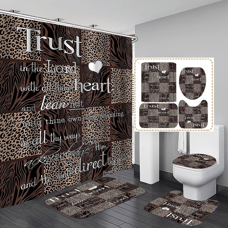OLEBETY 4PCS/Set Inspirational Quote Shower Curtain, Leopard Proverbs Christian Bible Verse Scripture Bathroom Decor, Waterproof Fabric Bath Curtain, Non-slip Bath Rug Toilet Mats, Trust in Lord