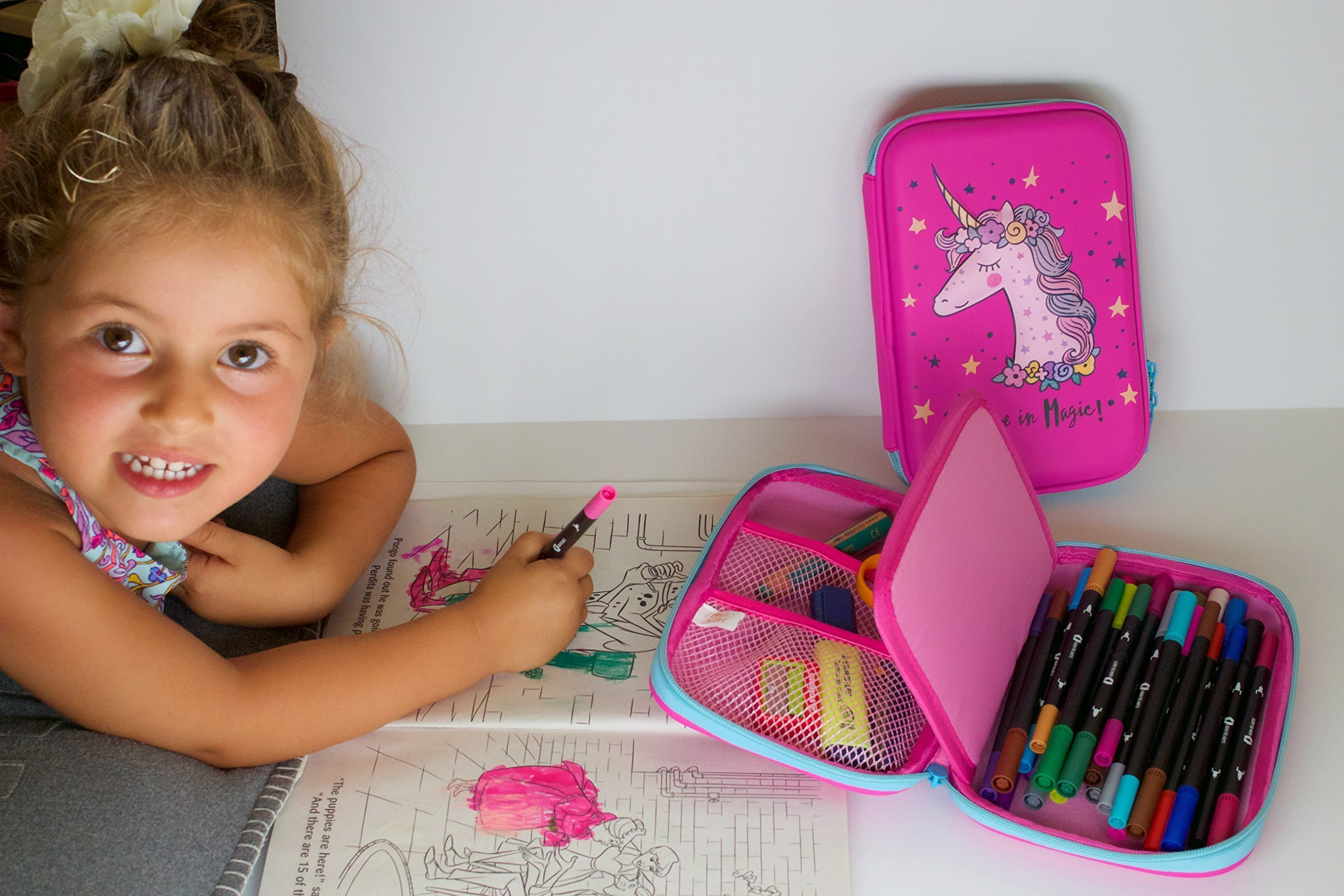 Unicorn Pencil Case by JoJo Kids Cute Pencils Holder | Large Size Crayon Box with Compartments for Girls Keep Kids School Supply Well Organized by Jojo Kids (Image #1)