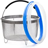 Zoari's Kitchen Steamer 6 Qt Accessories Steamer Basket 6 Quart with Silicone Handle and 2 Pack Sealing Rings for 6 Qt, Egg Steamer Basket and Strainer, Compatible with Instant Pot