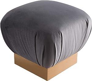 TOV Furniture The Lotus Collection Modern Velvet Upholstered Square Ottoman, Gray