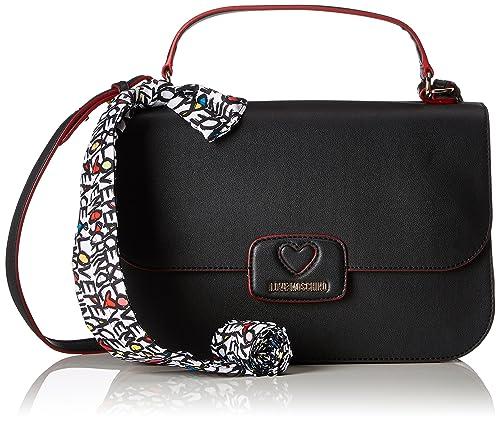 1df3892e0a Love Moschino Borsa Calf Pu Nero, Women's Shoulder Bag, Black, 10x21x33 cm (