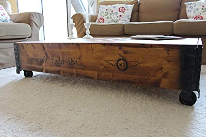 Walnut Uncle Joe/´s Wooden Chest in Brown in vintage style shabby chic