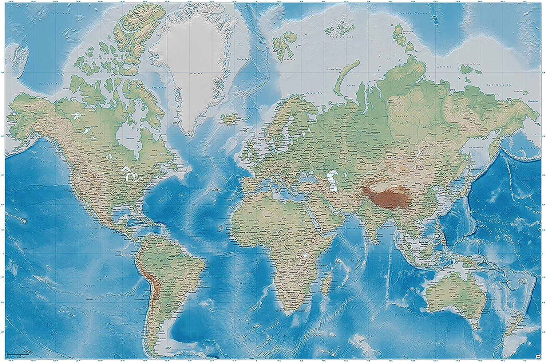 336 x 238 cm Affiche carte g/éographique mondiale decoration mur projection miller relief plastique design Atlas catre du globe terraste photo fond /écran murale photo mur D/écoration par GREAT ART