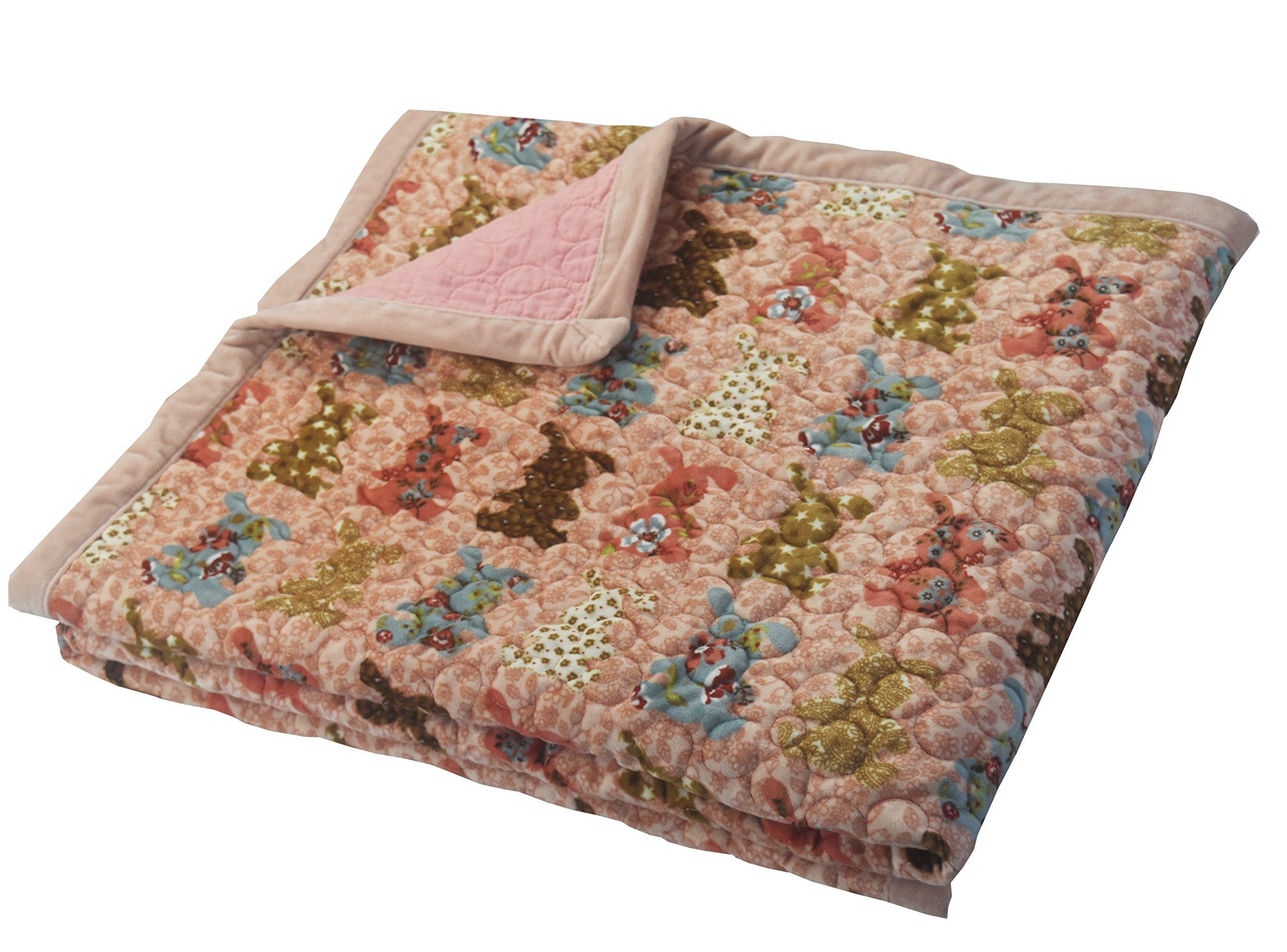 J-pinno Pink Rabbit Reversible Bedding Coverlet Quilt Bedspread Throw Blanket for Kid's Boy Girl Bed Gift, Soft Short Plush Velvet + Washed Cotton (Toddler 47'' X 59'', rabbitP)