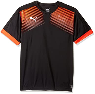 PUMA Men's It Evotrg Graphic Tee Touch, Black/Red Blast, Small
