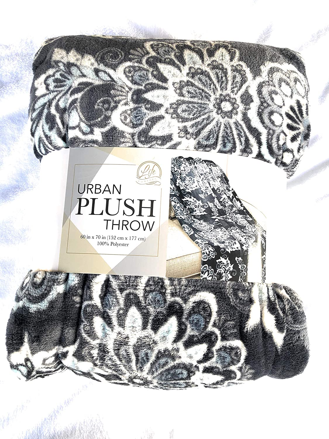 "Life Comfort Urban Plush Blue White And Grey Design Throw Blanket 60/"" x 70/"""