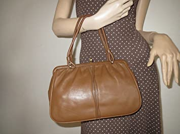 b07ebd636e068 Vintage Henkel Tasche Handtasche Braun Gold Leder Bag Granny Sac Boscha  50er VTG