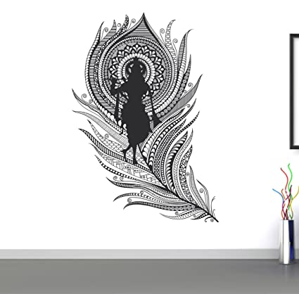 232b64f721 Buy Happy Walls Decals 'Lord Krishna with Flute' Wall Sticker - (PVC Vinyl,  60 cm x 40 cm, ) Online at Low Prices in India - Amazon.in