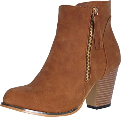 Steven Ella Women's Fashion Block Heel Ankle Booties with Zipper Closure (More Colors Available)