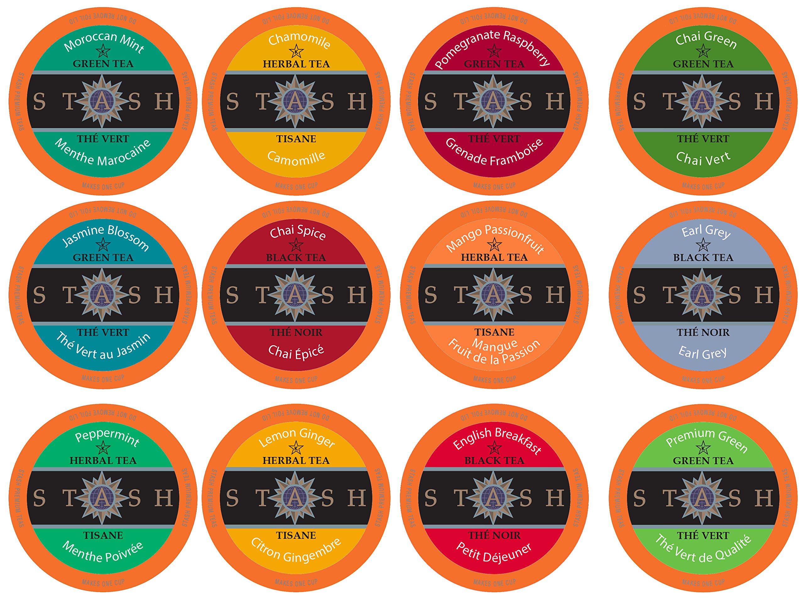 Stash Tea Variety Pack Single-Cup Tea for Keurig K-Cup Brewers, 12 Count (Pack of 6) by Stash Tea