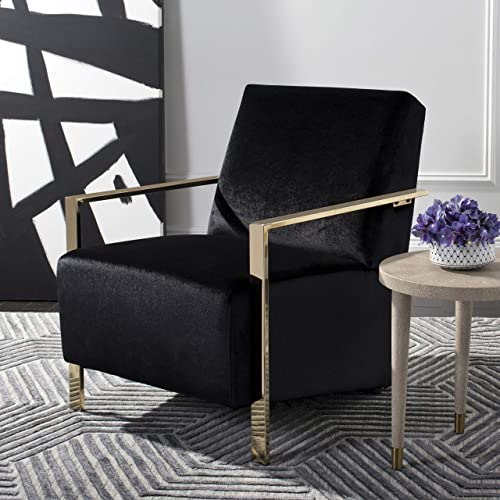 Safavieh Home Orna Glam Black Velvet and Brass Accent Chair