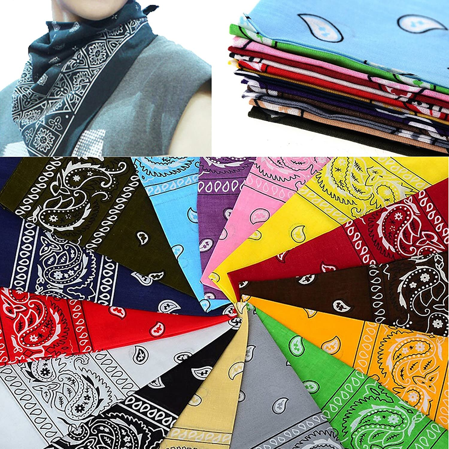 Outdoor Protection Scarves Pack of 9  Assorted Bandanas 22X22 In 100/% Cotton