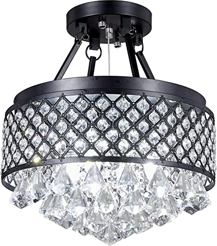 Broadway Black Classic Crystal Chandeliers Modern Lamps Pendant Light Flush Mount Ceiling Hand-Polished Fixture